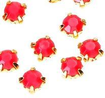 Montees / krysspärlor / Sew-ons. 4mm  Stark rosa, resin