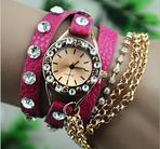 Armbandsklocka, strass & kedjor - Rosa