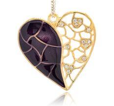 Stort Lyxhänge -Antikguld - Hjärta m Mörklila emalj