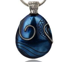 Stort Lyxhänge -Antiksilver droppe m blå emalj
