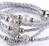Flerradigt armband med shamballa  -Silver