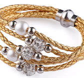 Flerradigt armband med shamballa  - Guld