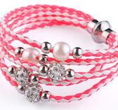 Flerradigt armband med shamballa  - Rosa/vit