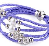 Flerradigt armband med shamballa  - Ljuslila