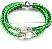 Flerradigt armband med shamballa  - Grön/svart