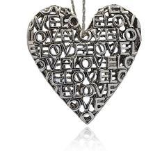 Stort Lyxhänge -Antiksilver Hjärta LOVE