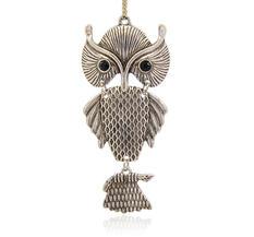 Stort Lyxhänge -Antiksilver Owl 89 mm