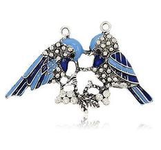 Stort Lyxhänge -Antiksilver blå fåglar