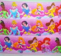 Textilband - Disney prinsessor 25 mm , Rosa