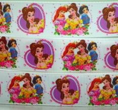 Textilband - Disney prinsessor 25 mm , Vit