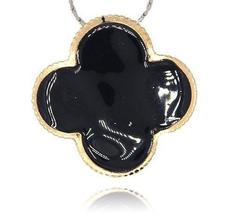 Stort Lyxhänge -guld m svart emalj - Blomma