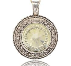 Stort Lyxhänge -Silver med ljusgult glas