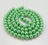 Vaxade Glaspärlor , 6mm Grön, 1 sträng