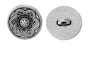 Knappar i metall - Antiksilver,mönstrad , 15mm