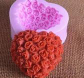 Silikonform-  Hjärta med små rosor