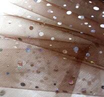 Organzatyg med glitter, brun