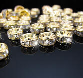 strassrondell, Guld 8mm  Clear