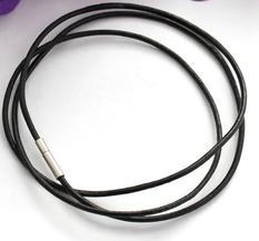 Läderhalsband/armband- svart, 80cm