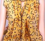 Sjal chiffong, 177x40cm Yellow Leavs