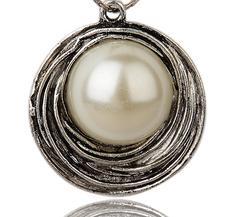 Stort Lyxhänge, Rund m stor pärla 46mm