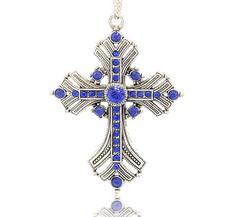 Stort Lyxhänge -Antiksilver Blue Cross 74mm
