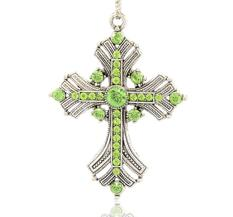 Stort Lyxhänge -Antiksilver Green Cross 74mm