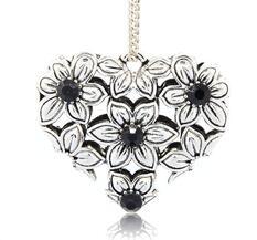 Stort Lyxhänge -Antiksilver Blommigt hjärta, Svart