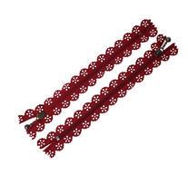 Dragkedja med spets, Vinröd 15cm