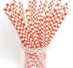 Sugrör i papper -  Squares - Röd