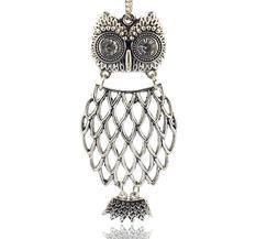 Stort Lyxhänge -Antiksilver Owl 73mm