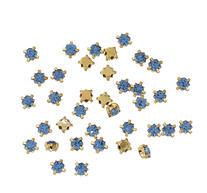 Montees / krysspärlor / Sew-ons. Guld 4mm Blå