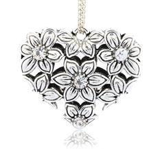 Stort Lyxhänge -Antiksilver Blommigt hjärta, Clear