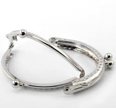 Handtag / lås till väska / portmonä, Silver 8,5cm