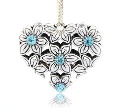 Stort Lyxhänge -Antiksilver Blommigt hjärta, Turkos