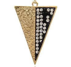 Stort Lyxhänge, Triangel - guld m strass