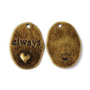 """Berlock, Brons - Oval m hjärta """"Always"""""""